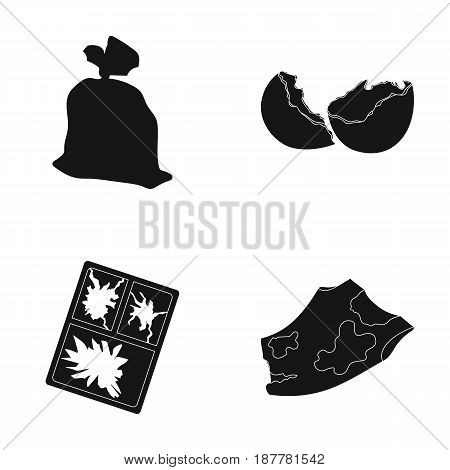 A garbage bag, a broken egg shell, a torn dirty T-shirt, a broken window frame with glass.Garbage and trash set collection icons in black style vector symbol stock illustration .