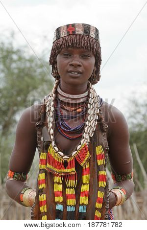 The tribe of Hamar in the Omo Valley of Ethiopia