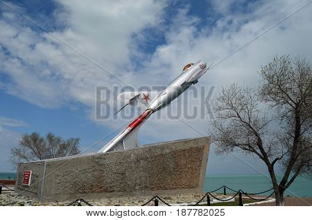 MIG-15.Monument to pilots of former Soviet anti-ballistic missile testing range Sary Shagan. Bank of Lake Balkhash.May 7, 2017.Priozersk.Kazakhstan