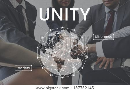 Workers working together network graphic