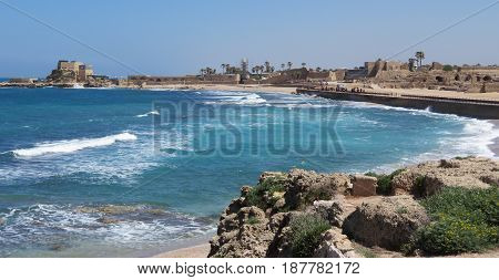 Caesarea Harbor view looking north with Roman arena in view