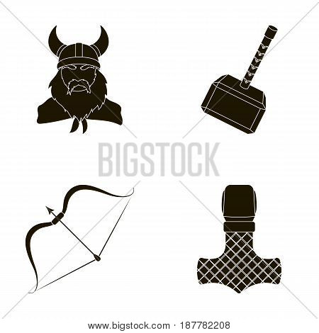 Viking in helmet with horns, mace, bow with arrow, treasure. Vikings set collection icons in black style vector symbol stock illustration .