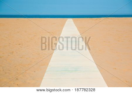 Footpath on Empty beach on sea background
