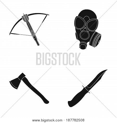 Crossbow, gas mask, ax, combat knife. Weapons set collection icons in black style vector symbol stock illustration .