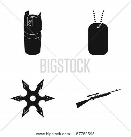 A gas cylinder, a soldier's token, a sniper rifle, a shuriken. Weapons set collection icons in black style vector symbol stock illustration .