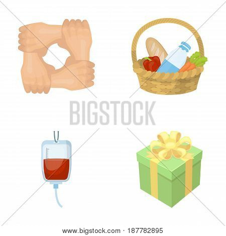 Gesture of the hands in support, a basket with food for charity, donor blood, a gift donation box. Charity and donation set collection icons in cartoon style vector symbol stock illustration .