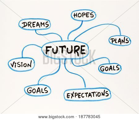 dreams, plans, hopes, goals, vision - shaping the future concept - mind map sketch on a matting board