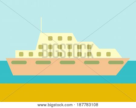 cruise ship ocean liner in water and sky. vector illustration in flat design