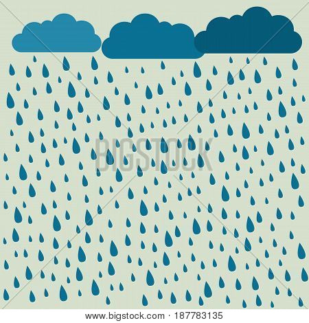 Rain. Vector image with clouds in wet day. Rain pattern. Rain background.