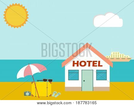 Hotel on the beach with baggage and umbrella. Vacation resort concept. vector