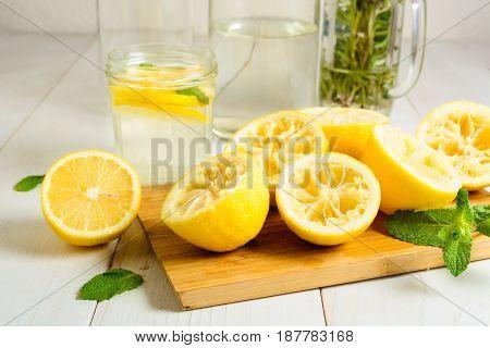 Squeezed Lemons, Mint And Ready Lemonade