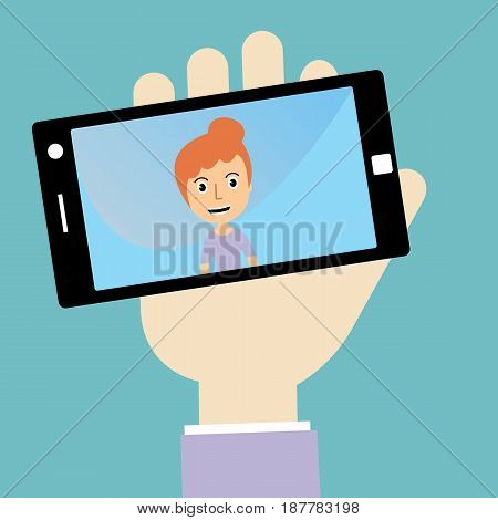 Woman's hand holding smartphone with self portrait. vector
