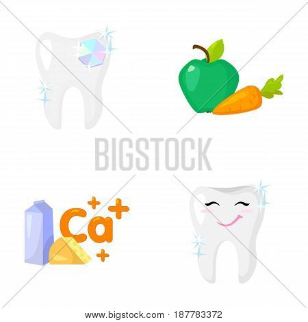 A tooth with brilliant sparkling, an apple with carrots useful for teeth, milk in a box, cheese and a sign of calcium, a smiling tooth. Dental care set collection icons in cartoon style vector symbol stock illustration .