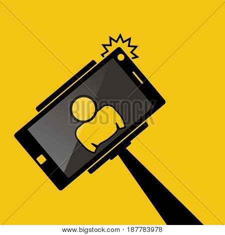 Selfie monopod stick symbol with smartphone with flash and man silhouette. Simple black style. yellow background