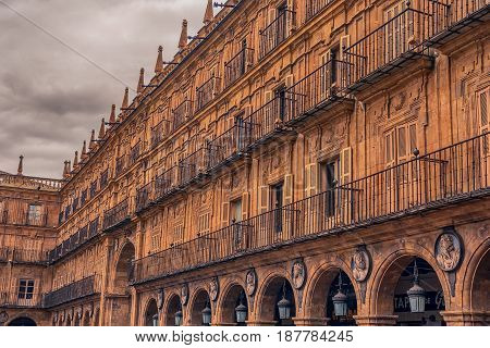 Salamanca, Spain: Plaza Mayor, the city hall square at sunset