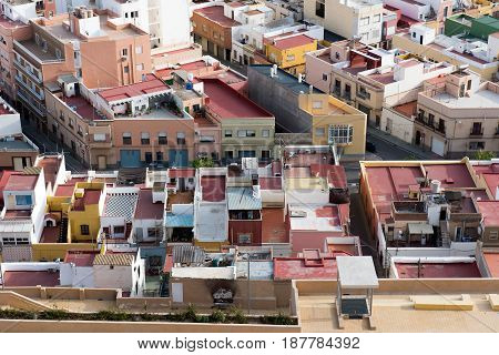 Roofs of the small town of spain poor neighborhood