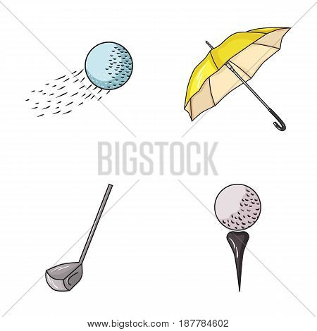 A flying ball, a yellow umbrella, a golf club, a ball on a stand. Golf Club set collection icons in cartoon style vector symbol stock illustration .