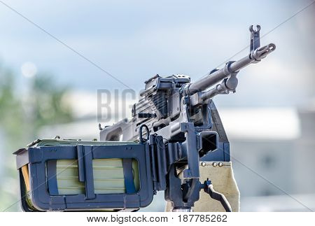 Machine gun cartridge belts installed on the tripod
