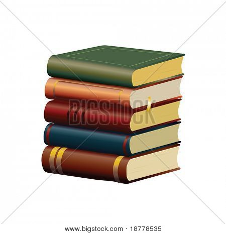 A stack of old books isolated on white background