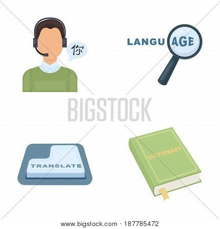 A translator in headphones, a magnifying glass showing translation, a button with an inscription, a book with a bookmark. Interpreter and translator set collection icons in cartoon style vector symbol stock illustration .