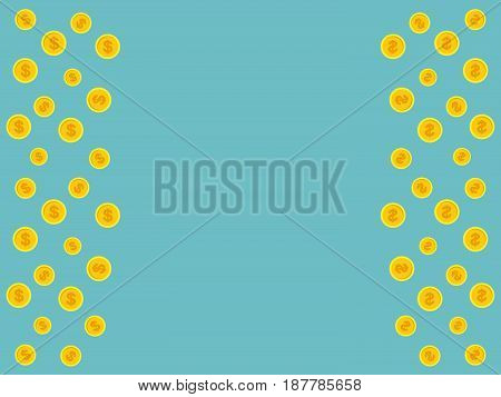 Vector blue background with golden coins and space for text