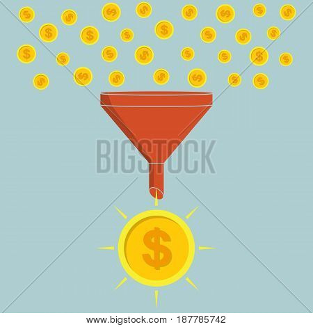 Business concept. Funnel converting small coins into large coin. Vector illustration. Profit process.