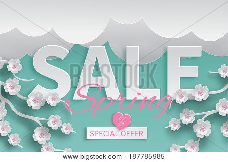 Spring sale floral template with paper cut blooming pink cherry flowers on green background with clouds for banner flyer poster web site or greeting card. Paper cut out style vector illustration