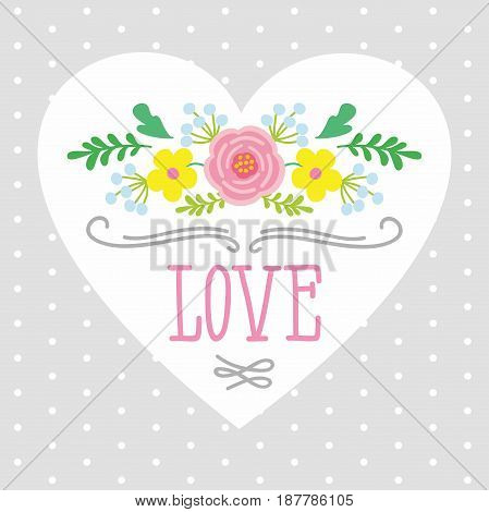 illustration of heart with the word love framed by flowers. template for greeting cards, cups, Printing on textiles.