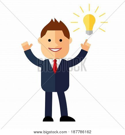 Cartoon man in suit. Concept idea. Vector illustration of a creative young cartoon businessman pointing at light bulb as a symbol of having an idea