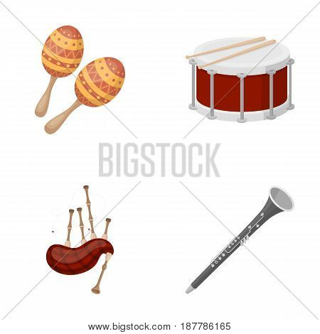 Maracas, drum, Scottish bagpipes, clarinet. Musical instruments set collection icons in cartoon style vector symbol stock illustration .