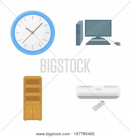 Clock with arrows, a computer with accessories for work in the office, a cabinet for storing business papers, air conditioning with remote control. Office Furniture set collection icons in cartoon style vector symbol stock illustration .