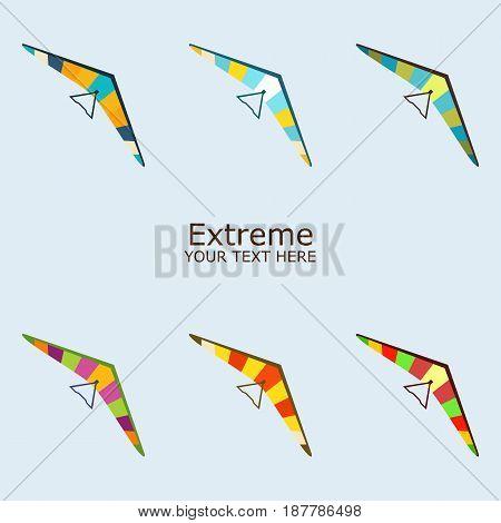 Paraplane in different color vector illustration set