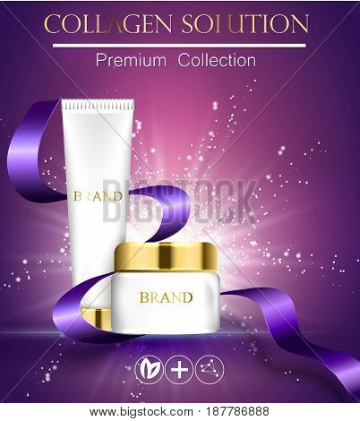 Essense And A Cream For Skin Care Template. 3D Vector Realistic Illustration. Collagen Solution .the