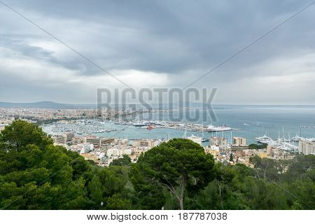 Panoramic aereal view of Palma de Mallorca cloudy day, Spain. Bay harbor with many sailboats