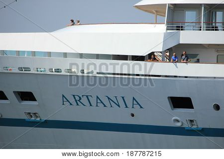 Velsen the Netherlands - May 22nd 2017: Artania by Phoenix Reisen detail of ship