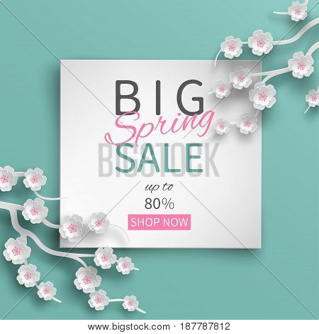 Spring sale banner with paper cut frame and blooming pink cherry flowers on green floral background for banner flyer poster web site or greeting card. Paper cut out art style vector illustration