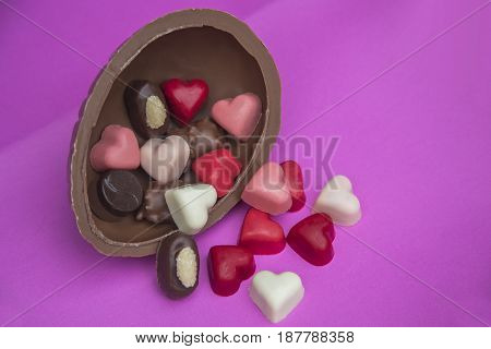 Closeup of delicious heart shaped chocolate pralines.