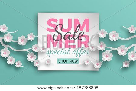 Summer sale banner template with paper cut frame and blooming pink cherry flowers on green floral background for banner flyer invitation poster or web site. Paper cut art style vector illustration