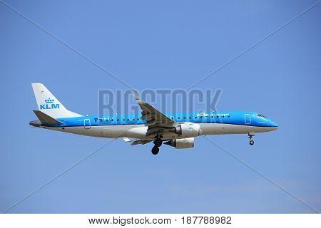Amsterdam the Netherlands - July 21st 2016: PH-EXB KLM Cityhopper Embraer ERJ-190STD approaching Polderbaan runway at Schiphol Amsterdam Airport arriving from Edinburgh United Kingdom