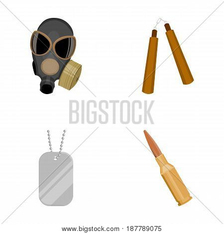Gas mask, nunchak, ammunition, soldier's token. Weapons set collection icons in cartoon style vector symbol stock illustration .