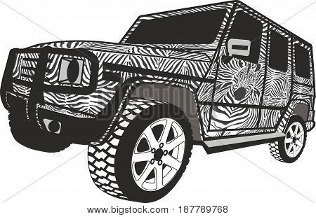 Vector illustration 4x4 Safari tour vehicle zebra stripes