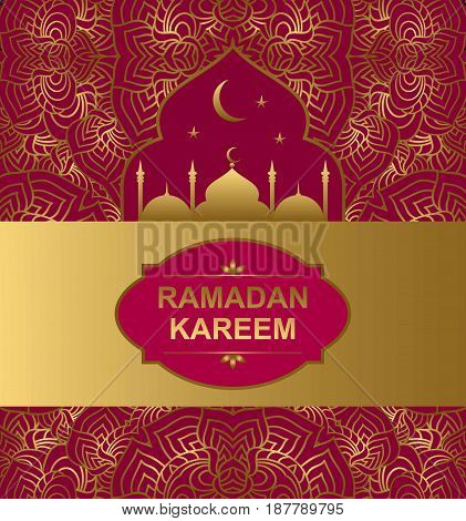 vector background with an ornament and a silhouette Islamic mosque. Holy month of muslim community Ramadan Kareem background illustration of mosque.