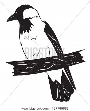 The crow sits on a branch. Vector illustration