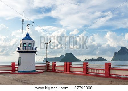 Tide Station or Sea level station controlled by satellite system. Located in Prachuap Khiri Khan Thailand.