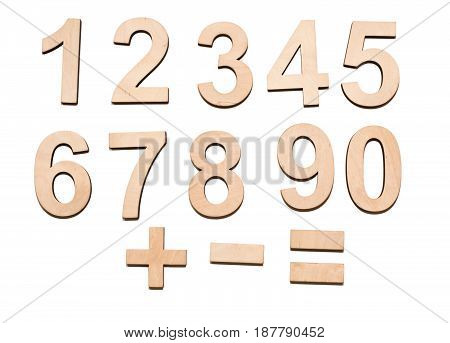 Wooden Numerals 0-9 Isolated On White