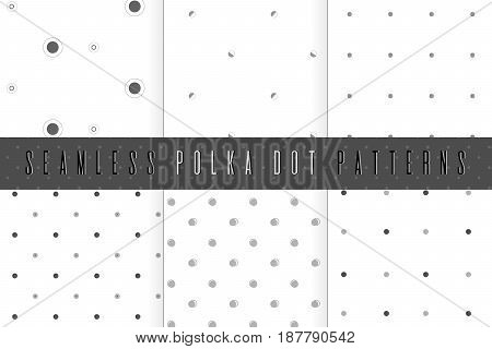 Seamless polka dot patter. Set of simple dotted grey textures. Abstract background collection