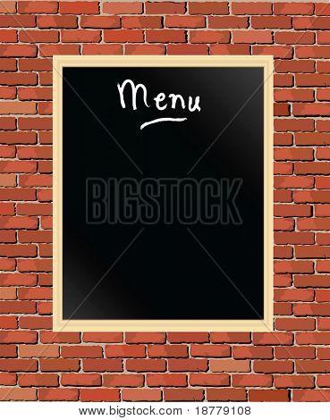 A vector illustration of a 'menu' chalkboard against a brick wall