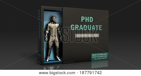 PHD Graduate Employment Problem and Workplace Issues 3D Illustration Render