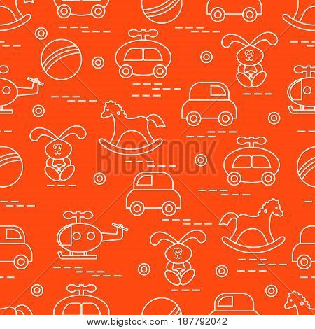 Cute Seamless Pattern With Variety Of Children's Toys: Rocking Horse, Ball, Machine, Rabbit, Helicop