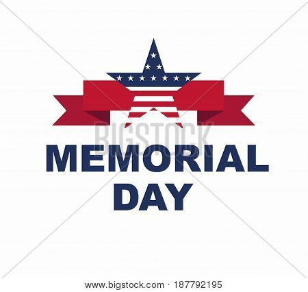 Happy Memorial Day greeting card. Vector illustration. Memorial Day star - Stock Illustration